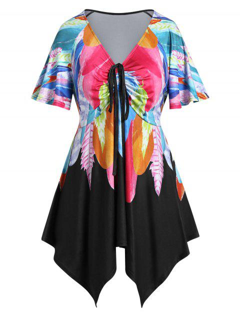 Plus Size Feather Print Asymmetric Cinched Tied Tee - multicolor 5X