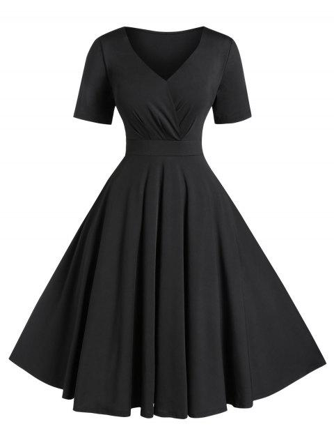 Plus Size Solid High Waist V Neck Vintage Dress - BLACK 2X
