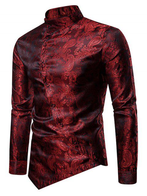 Paisley Stand Collar Button Down Asymmetrical Shirt - RED WINE M
