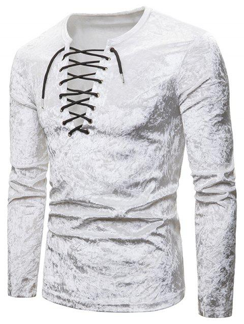 Lace Up Crushed Velvet Solid T Shirt - WHITE M