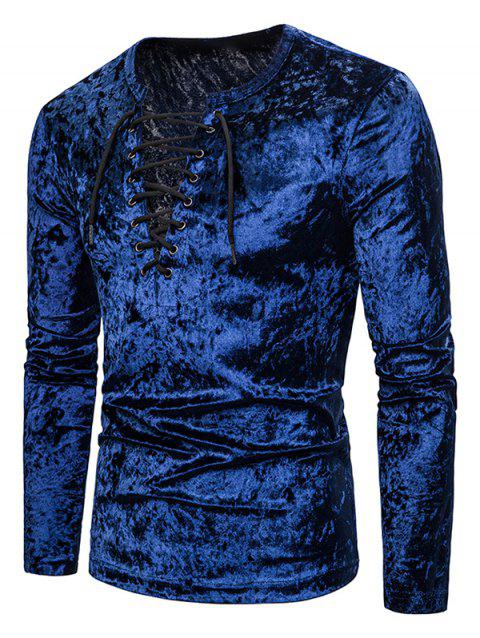 Lace Up Crushed Velvet Solid T Shirt - CADETBLUE XL