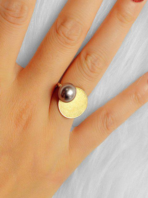 Round Faux Pearl Geometric Ring - GOLD