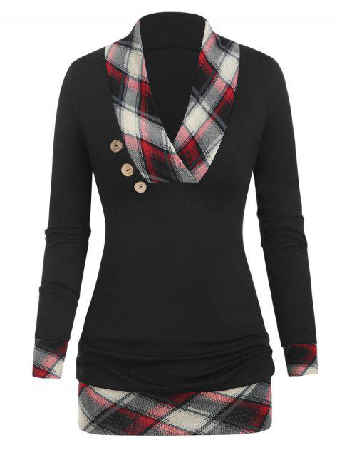 Checked Panel Button Tunic T Shirt - RED WINE L