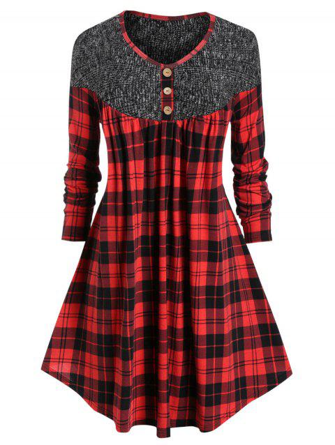 Plus Size Plaid Curved Long Tunic T-shirt - RED L