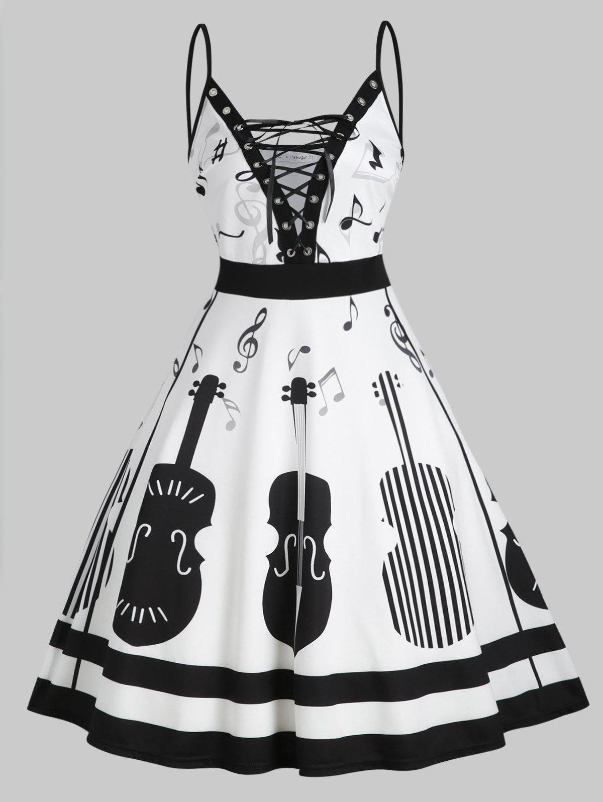Musical Note Print Lace Up Cami Plus Size Dress - WHITE 4X