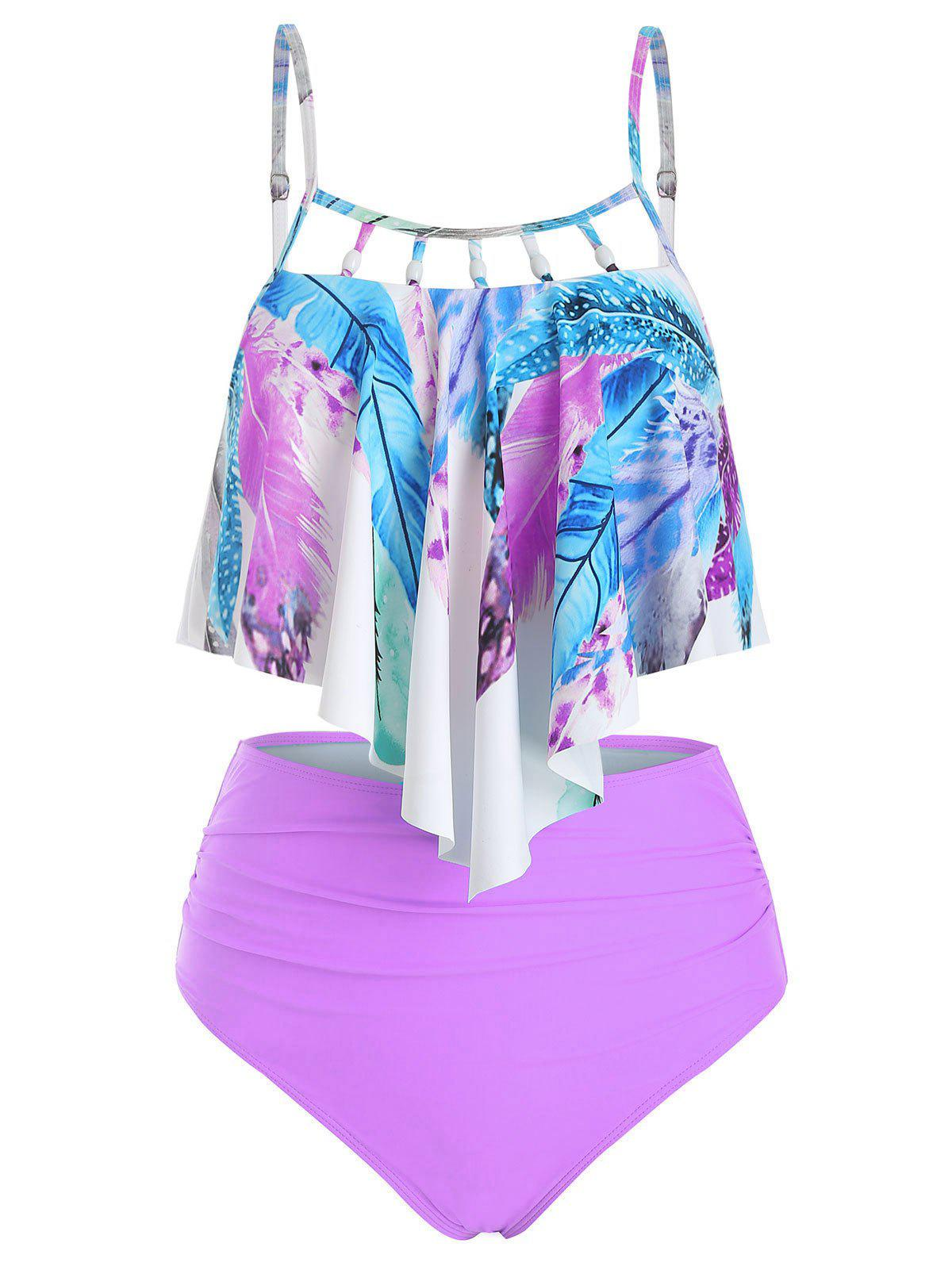Feather Print Flounce Beading Embellished Tankini Swimsuit - multicolor A L
