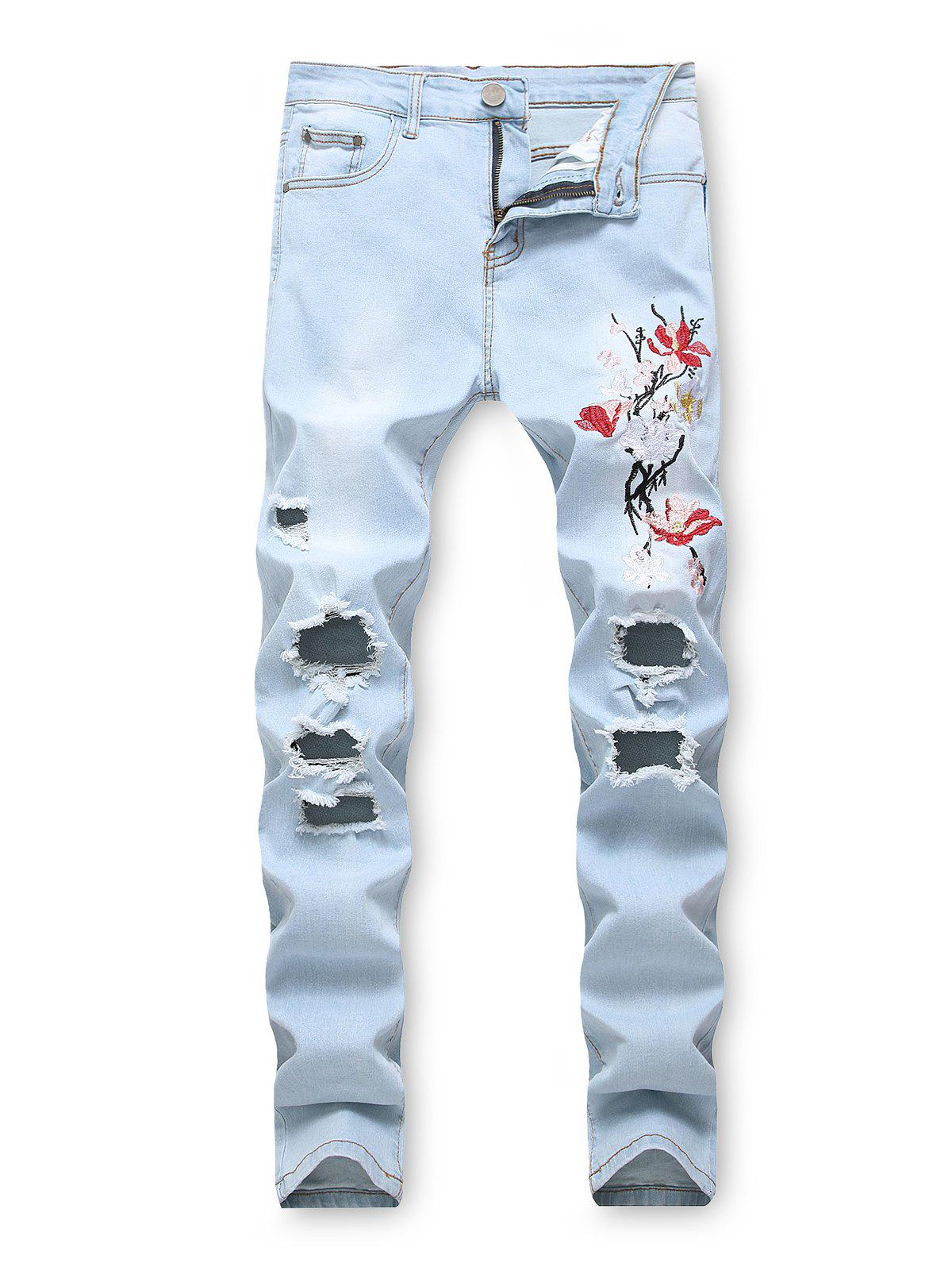 Floral Embroidery Destroyed Casual Jeans - JEANS BLUE 32