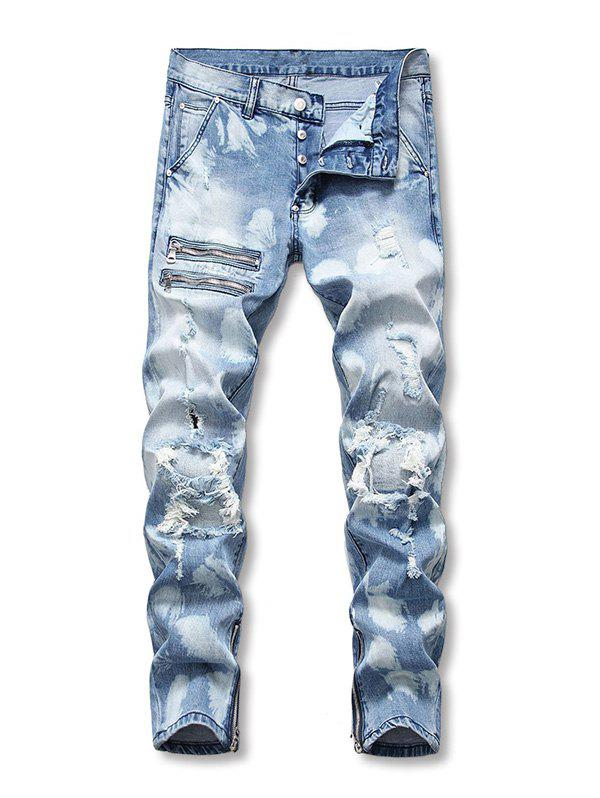 Button Fly Zipper Decoration Ripped Jeans - BABY BLUE 36