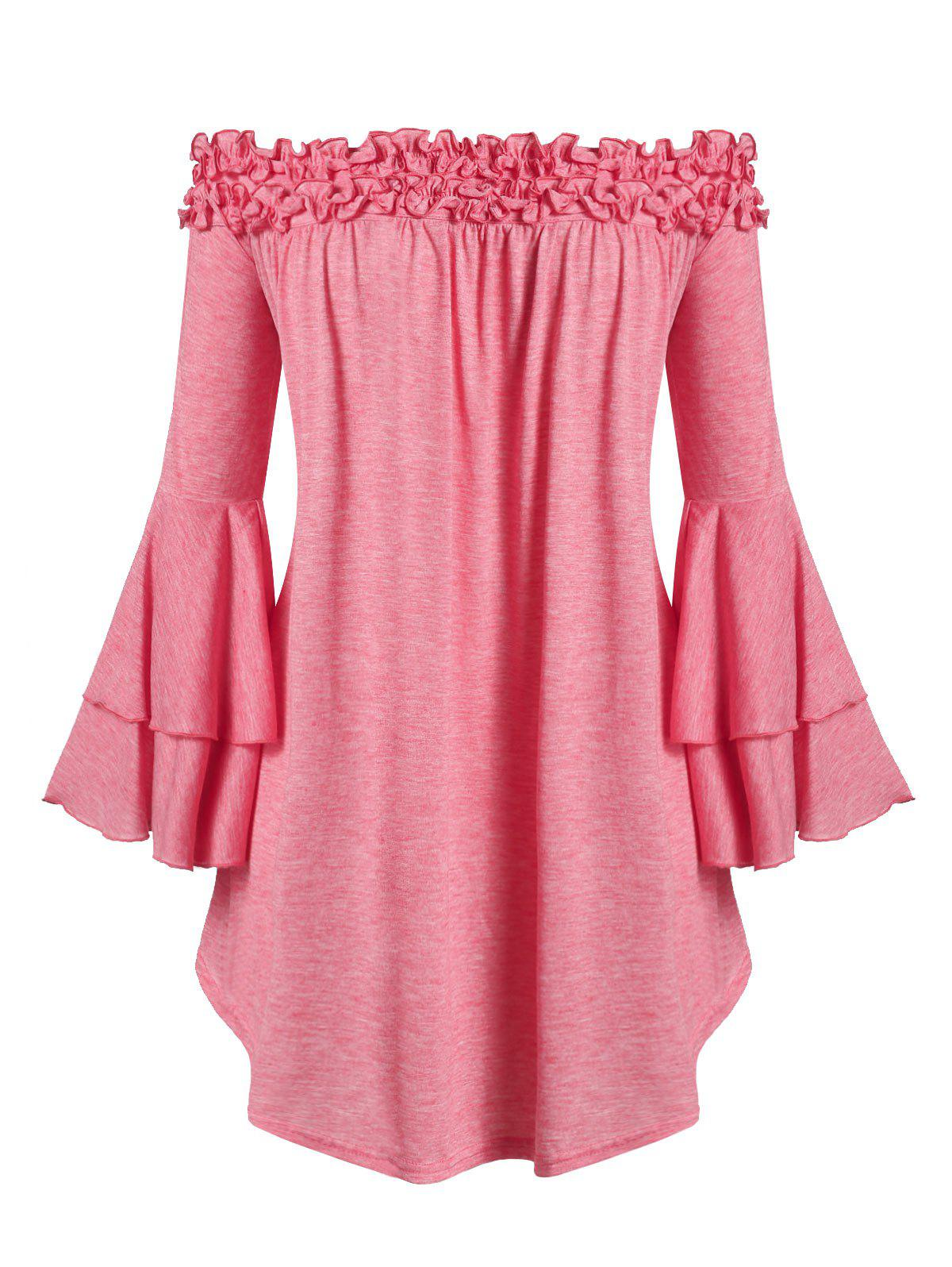 Plus Size Off The Shoulder Layered Bell Sleeve T-shirt - WATERMELON PINK L