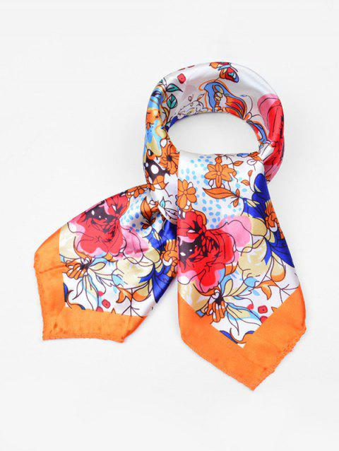 Vintage Flower Pattern Scarf - BASKET BALL ORANGE