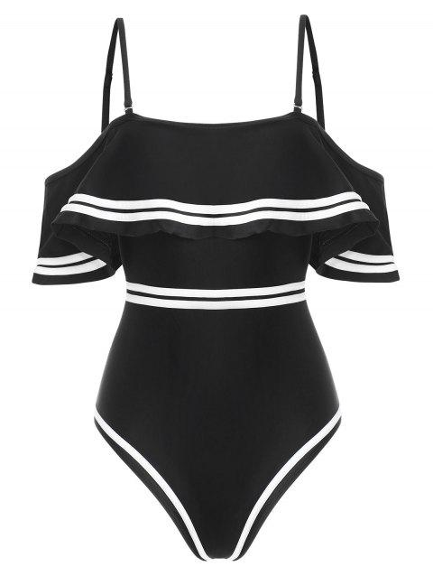 Contrast Piping Flounce One-piece Swimsuit - BLACK XL