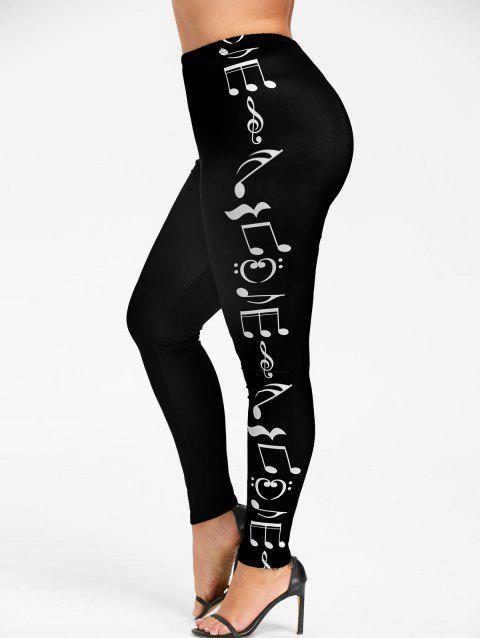 Plus Size Monochrome Music Notes Leggings - BLACK L