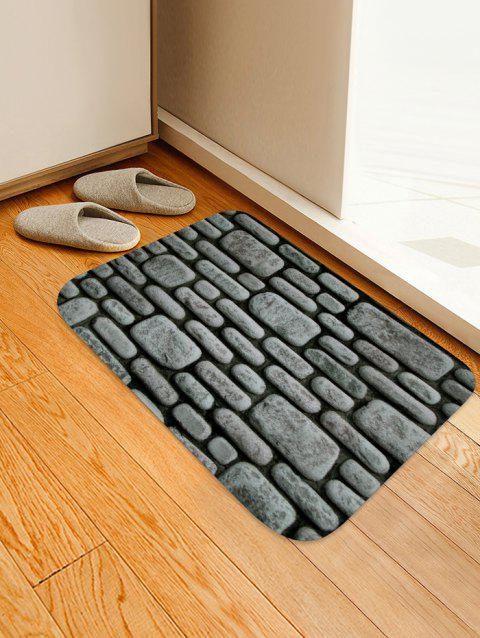 3D Stone Printed Design Floor Mat - CLOUDY GRAY W16 X L24 INCH
