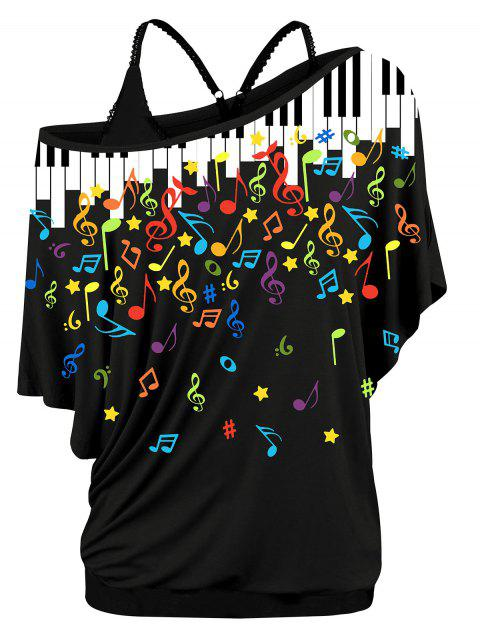 Plus Size Skew Neck Musical Notes Print T-shirt and Cami Twinset - NIGHT 5X