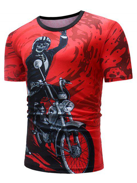 Skeleton Motorcycle Paint Print Casual T-shirt - RED 3XL