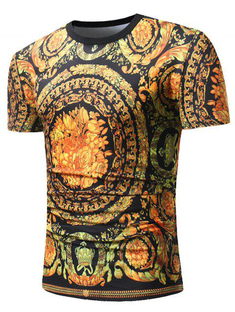 Baroque Flower Crown Print Short Sleeve T-shirt - YELLOW 3XL
