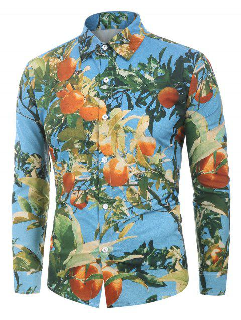 3D Tangerine Print Long Sleeves Shirt - SKY BLUE 2XL