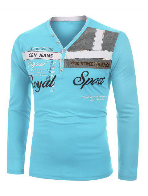 Letter Printed Long Sleeves T-shirt - TRON BLUE 3XL