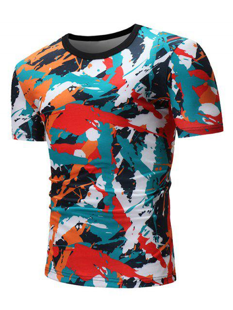 Colorful Painting Graphic Print Short Sleeve T-shirt - GREEN 3XL