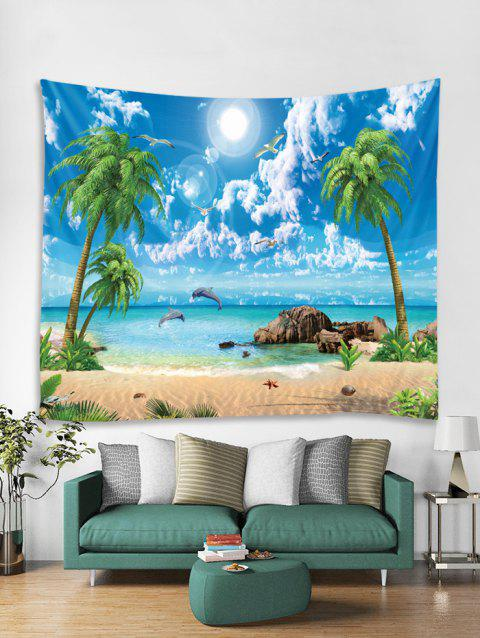 Coconut Palm Sea Beach Pattern Printed Tapestry - multicolor B W59 X L51 INCH