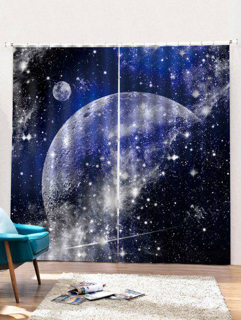 2PCS Starry Sky Pattern Printed Window Curtains - multicolor W30 X L65 INCH X 2PCS