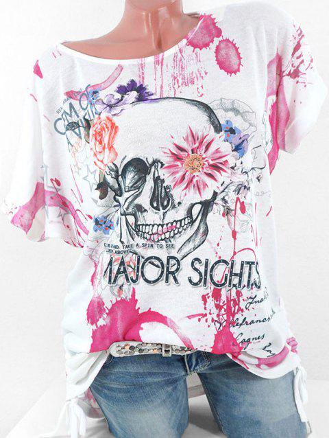 Plus Size Floral Skull Print Cinched T-shirt - ROSE RED 3X