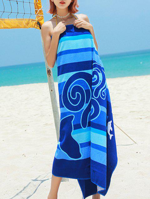Dolphin and Stripe Print Microfiber Beach Towel - NAVY BLUE 150*70CM
