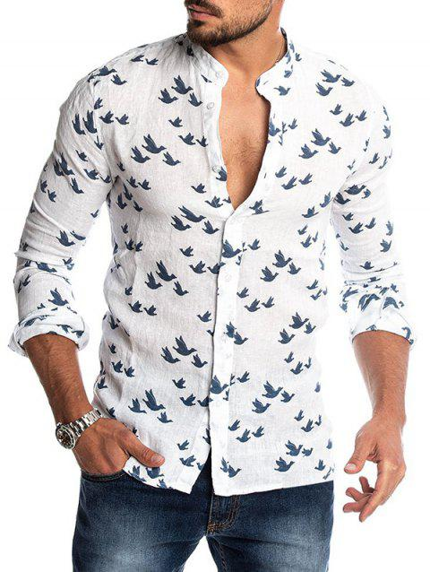 Bird Figure Allover Print Long Sleeve Casual Shirt - WHITE M