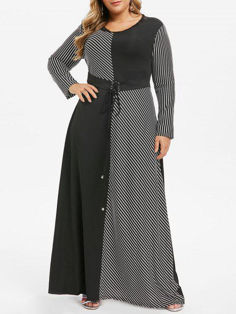 Plus Size Lace Up Corset Striped Maxi Dress - BLACK 1X