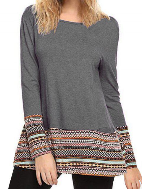 Printed Long Sleeves Tee with Pockets - GRAY CLOUD L
