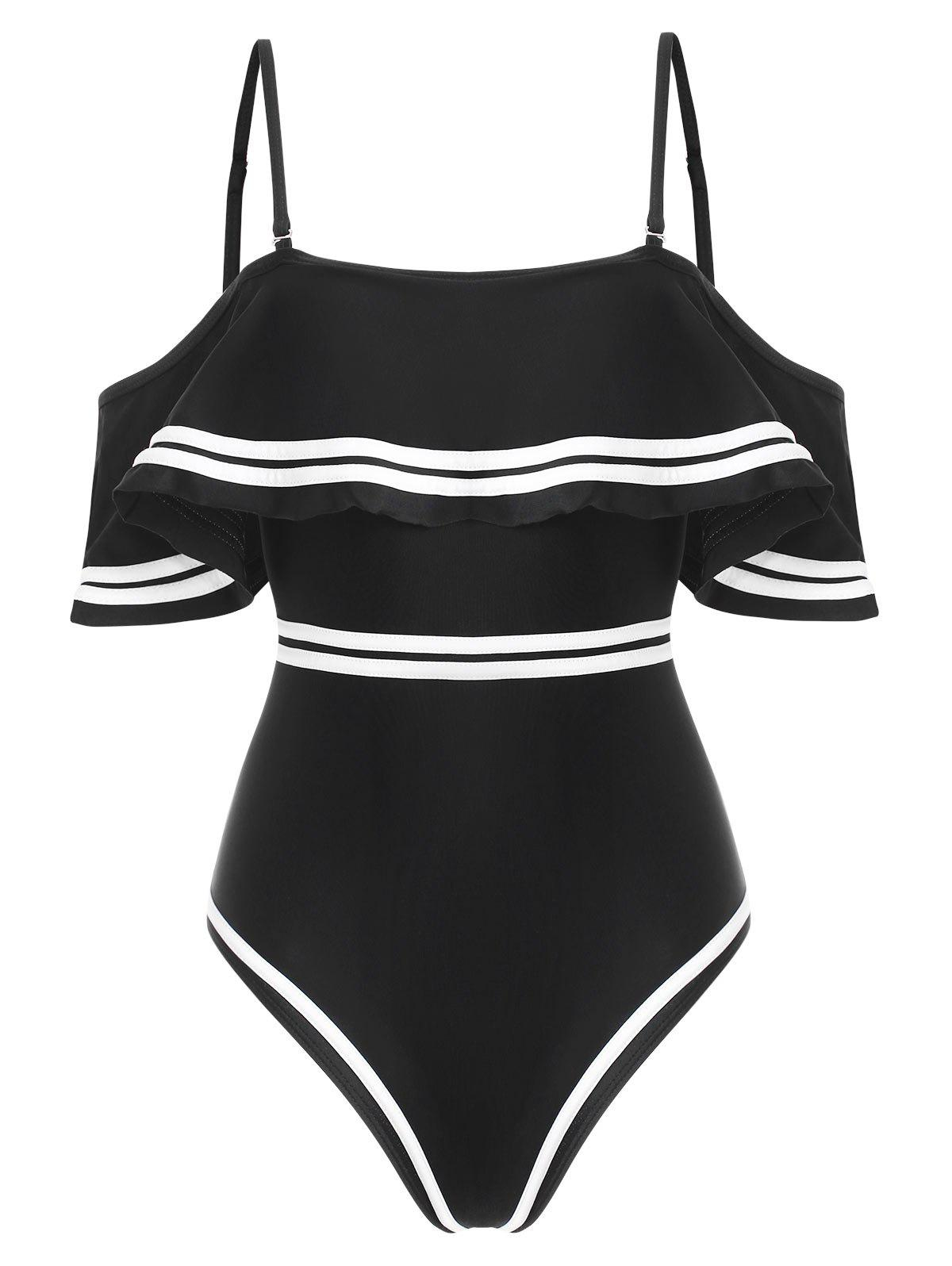 Contrast Piping Flounce One-piece Swimsuit - BLACK M