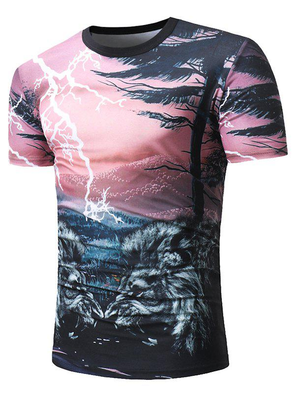 Lightning Wild Lion Pattern Print Casual T-shirt - PINK 2XL