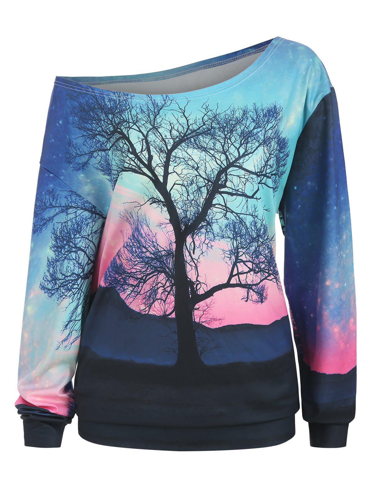 Plus Size Skew Neck 3D Tree Print Sweatshirt - BLACK 3X