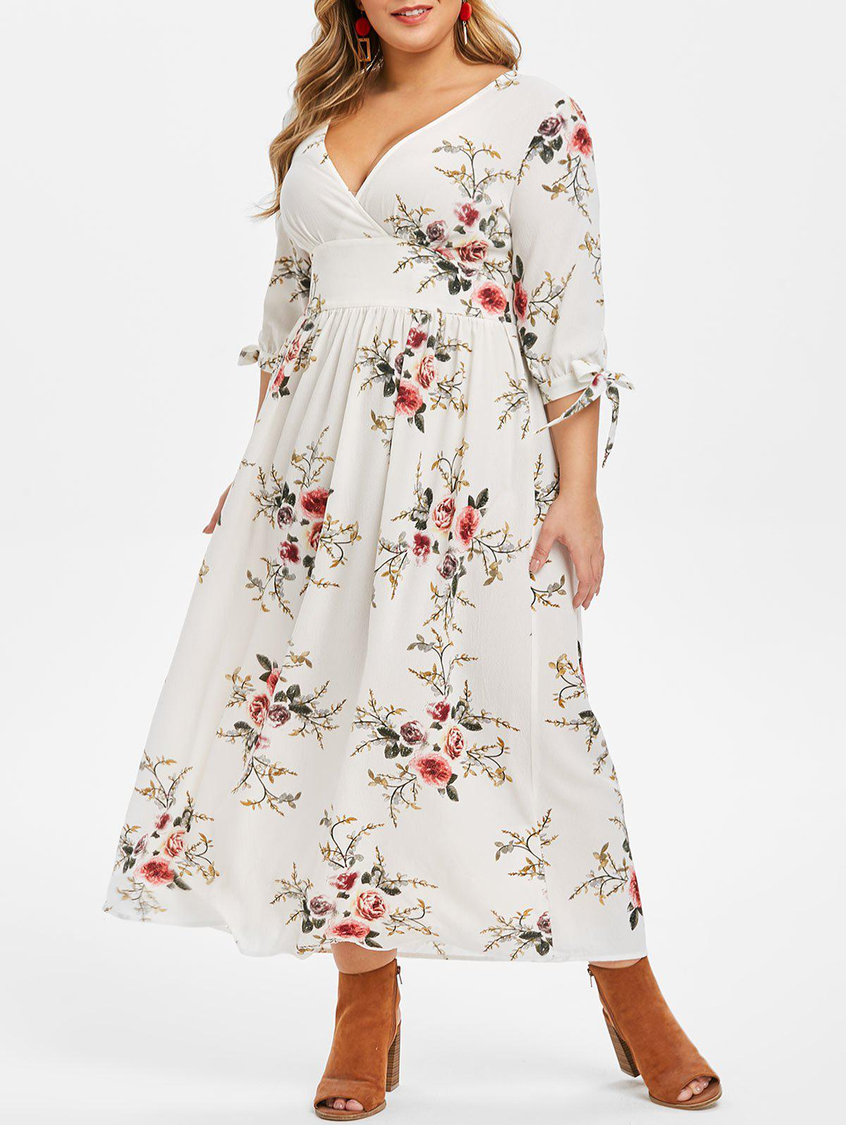 Plus Size Tie Sleeve Floral Print Maxi Dress - WHITE 1X