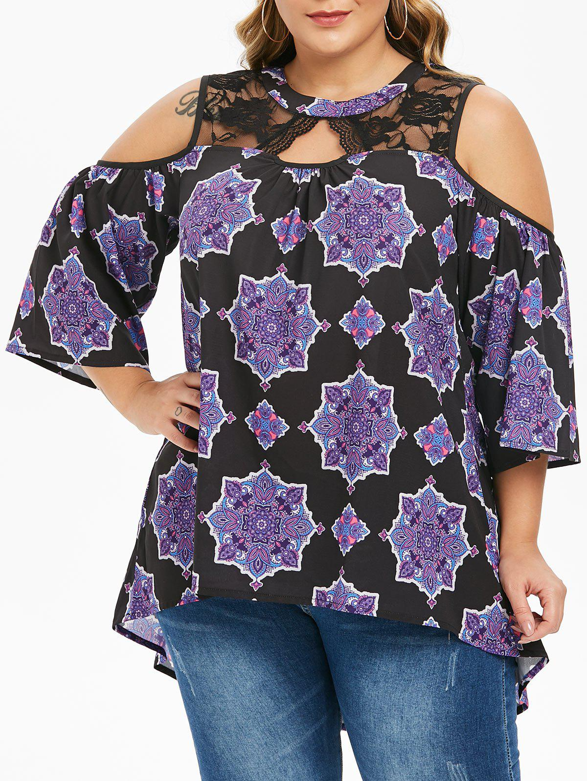 Plus Size Lace Panel Printed Cold Shoulder Tunic - BLACK 3X