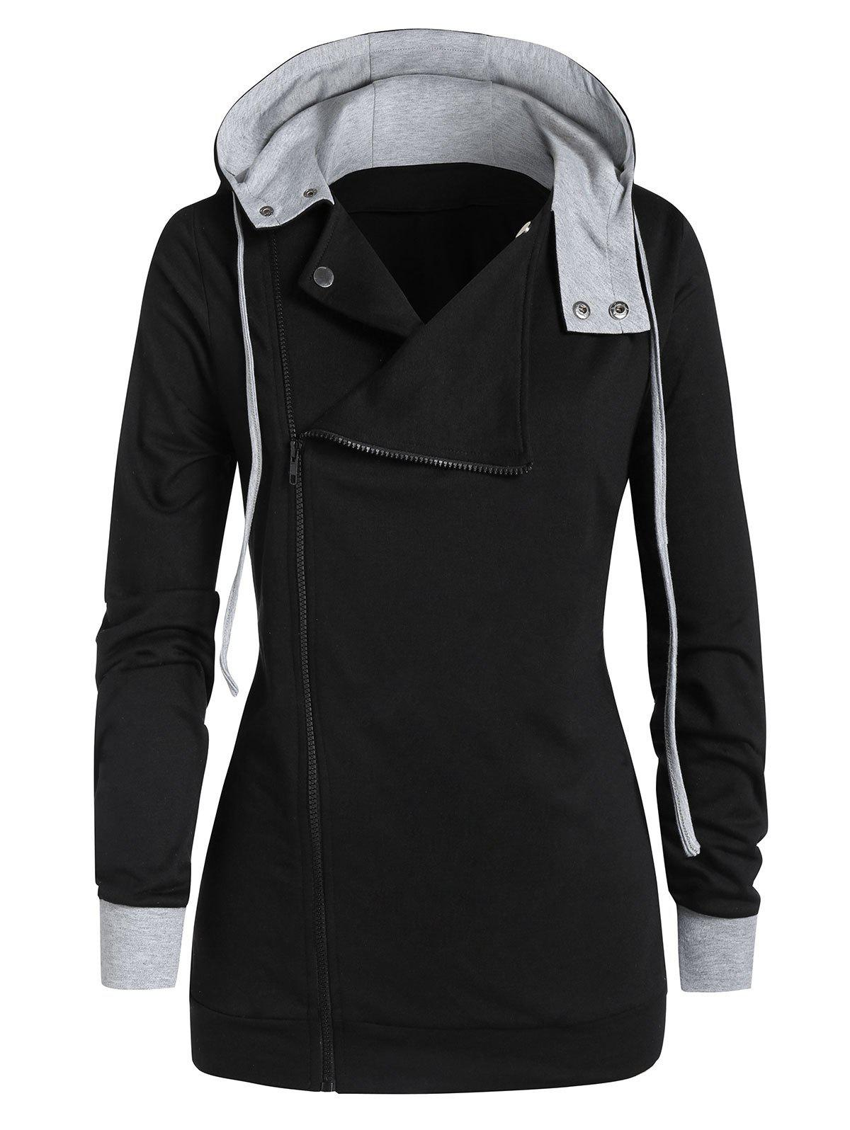 Plus Size Two Tone Hooded Zipper Fly Coat - BLACK L