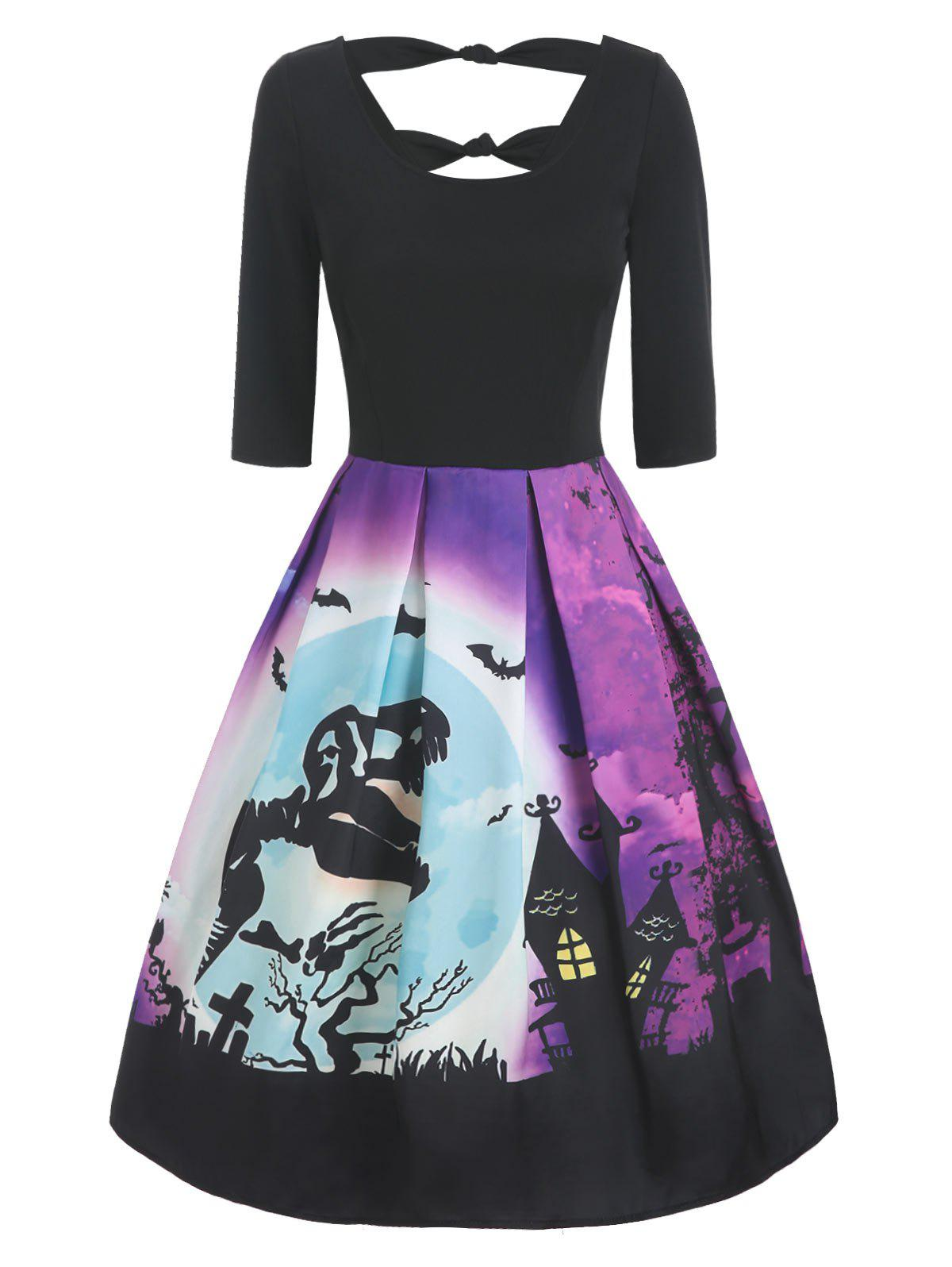 Halloween Dinosaur Skeleton Print Knotted V Back Dress - multicolor XL