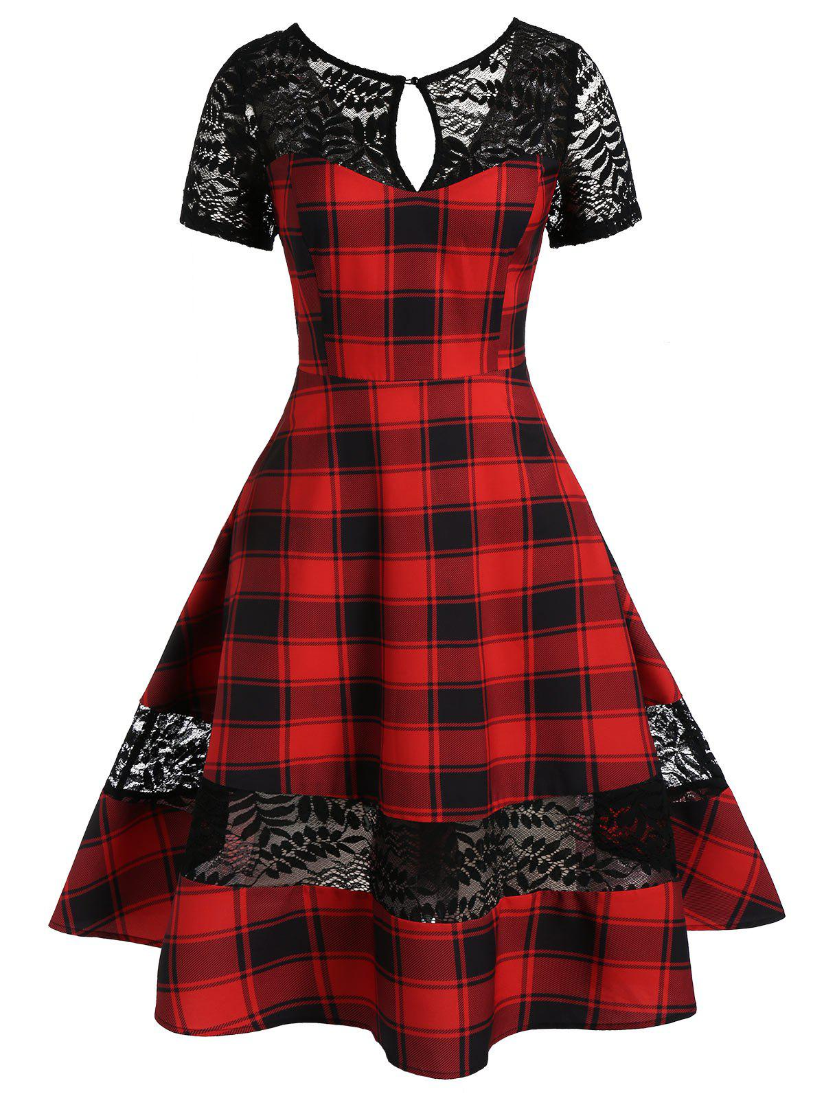 Plus Size Lace Insert Keyhole Plaid A Line Dress - LAVA RED L