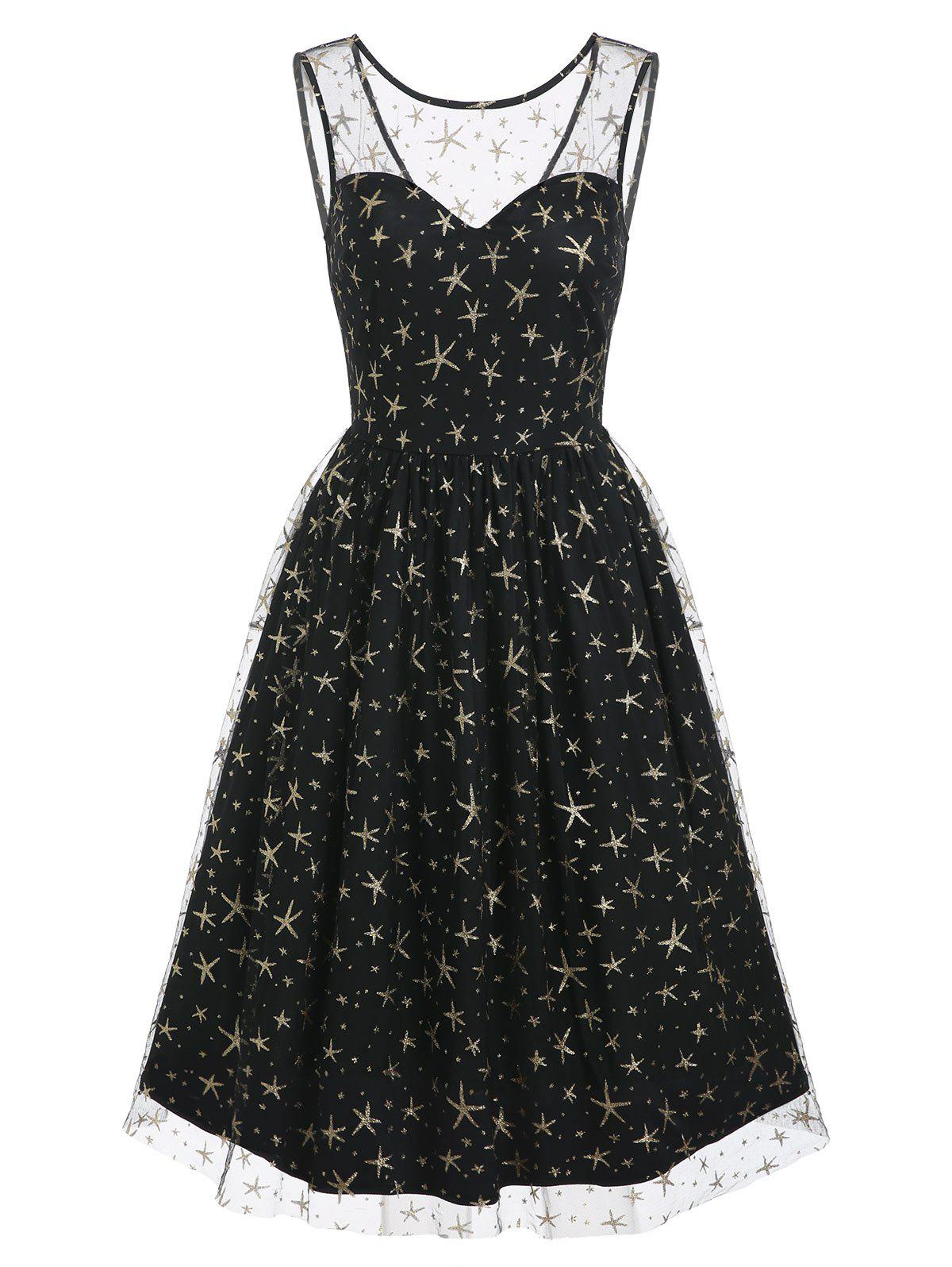 Sequined Sparkly Star Mesh Overlay Sleeveless Dress - BLACK M