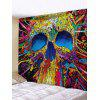 Abstract Skull Pattern Printed Tapestry - CORN YELLOW W59 X L79 INCH