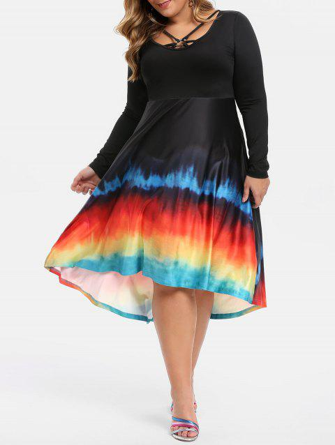 O-ring Tie Dye Plus Size Midi Dress - BLACK 5X