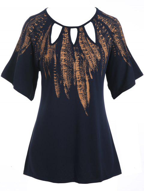 Plus Size Cut Out Feather Print T-shirt - DARK SLATE BLUE 1X