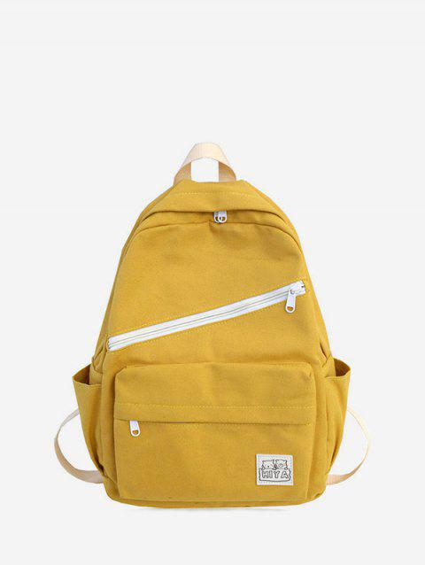 Badge Zipper Decoration Canvas Backpack - CORN YELLOW