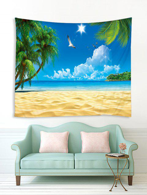 Fine Day Beach Tree Print Tapestry Wall Hanging Art Decoration - SKY BLUE W79 X L59 INCH