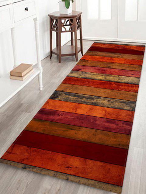 Colored Wood Board Pattern Water Absorption Area Rug - multicolor B W24 X L71 INCH