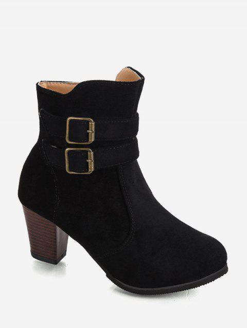 Buckle Decoration Chunky Heel Boots - BLACK EU 43