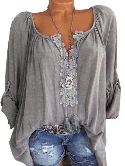 Plus Size Lace Crochet Roll Up Sleeve Blouse - GRAY 5X