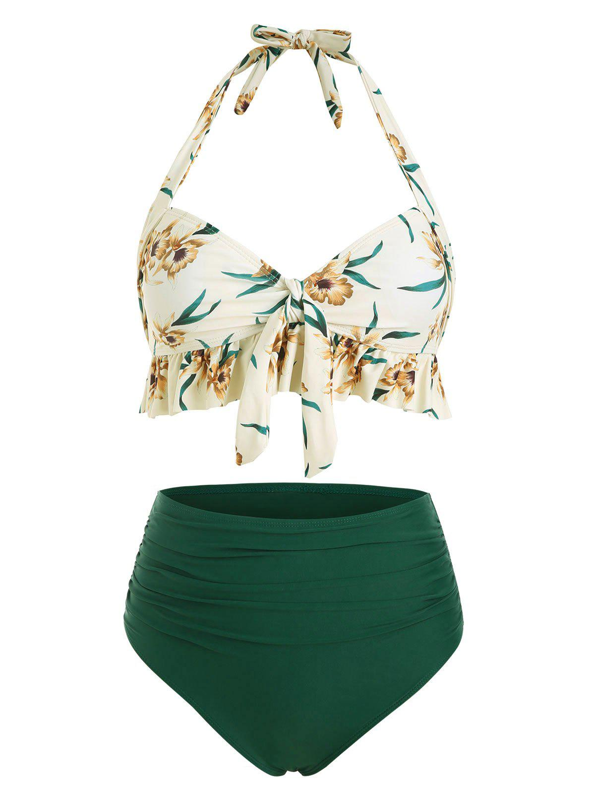 Ruffle Floral Ruched Halter Bikini Swimsuit - SEA TURTLE GREEN M