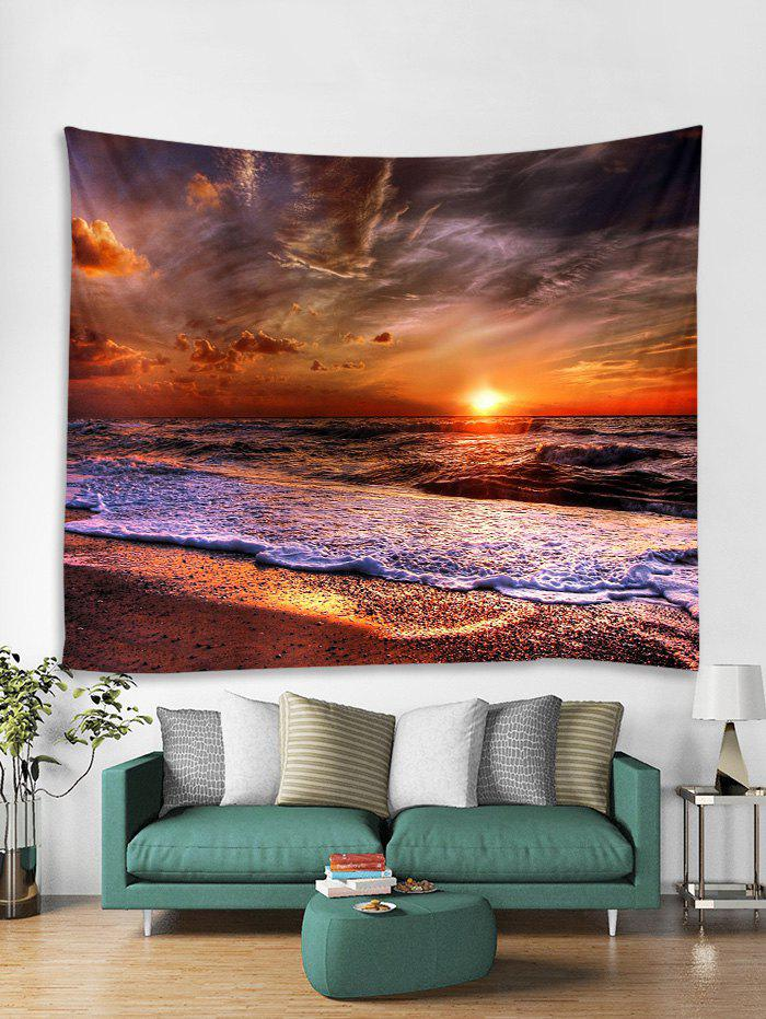 Sunset Sea Pattern Printed Tapestry - RUBY RED 230*180CM