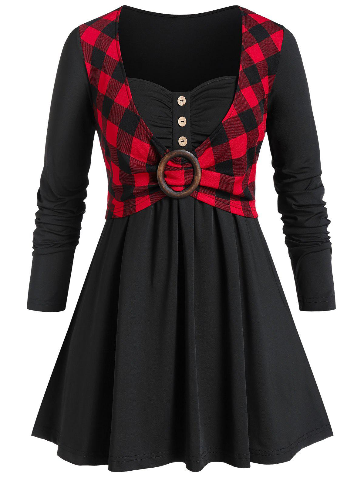 Plus Size Sweetheart Collar Plaid Panel Button T Shirt